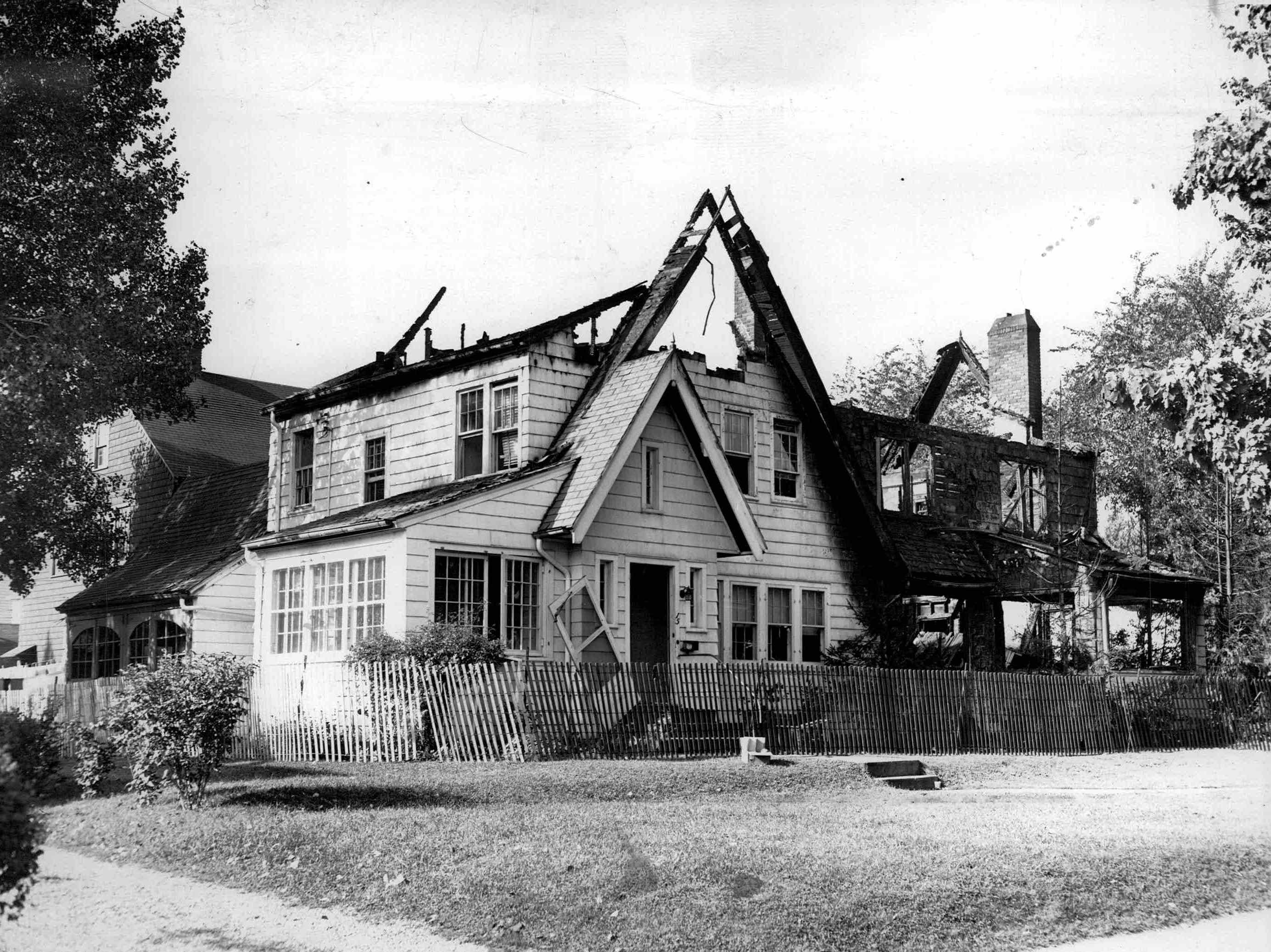 Double house at 15 Fair Oaks Ave and  88 Sylvan Road was damaged in the explosion. (Staff photo, 9/21/1951)