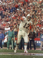 Dan Marino of the Miami Dolphins lets one fly during his lone Super Bowl appearance against the San Francisco 49ers on Jan. 20, 1985. Marino did not start right away as a rookie.