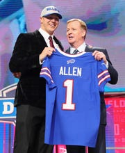 Josh Allen, shown with NFL Commissioner Roger Goodell after being picked seventh overall by the Buffalo Bills, is just the fourth quarterback ever drafted in the first round by the Buffalo Bills.