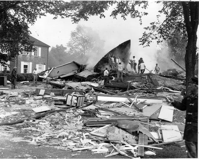This wreckage is all that is left of the home at 240 Bonnie Brae Ave.  (Staff photo, 9/21/1951)