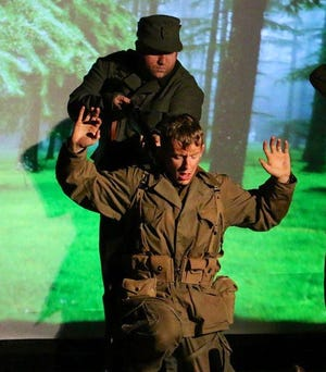 "John Bohatch, left, and Reece Resendez in the drama ""April of '45."" The play opens this weekend at the David Marr Theater in Redding."