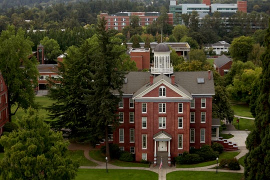 Part of the Willamette University campus as seen from the top of the Oregon State Capitol in Salem.