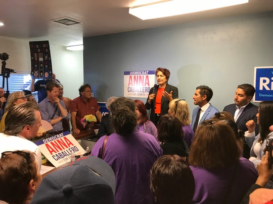 A crowded room listens to state Senate candidate Anna Caballero speak Friday.