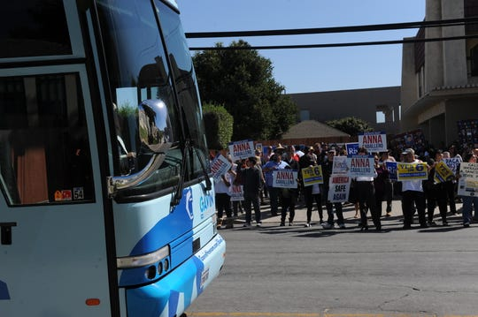 Gavin Newsom's blue bus arrived to Salinas Friday, where he spoke briefly to help elect other Democrats down the ticket.