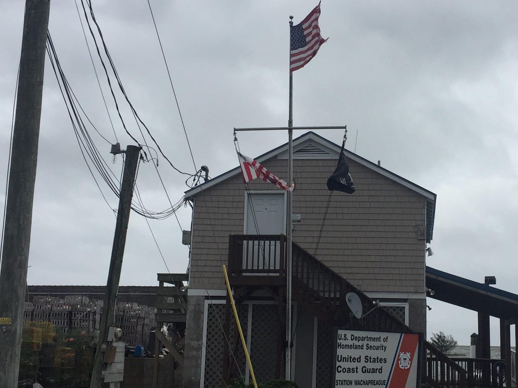 Wachapreague, Virginia experiences windy conditions and minor coastal flooding during high tide Friday, Sept. 14, 2018 as result of Hurricane Florence.