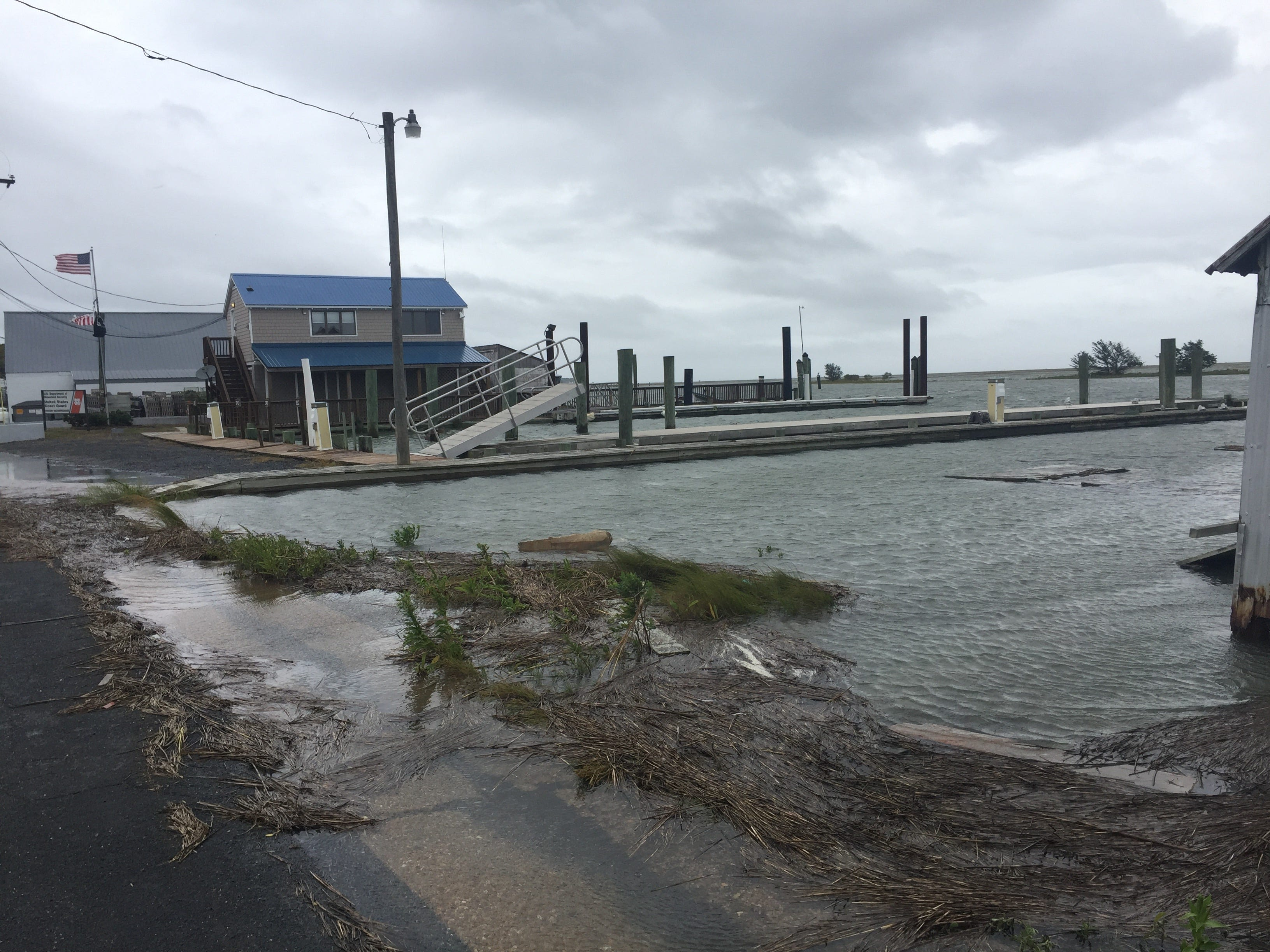 Wachapreague, Virginia experiences minor coastal flooding during high tide Friday, Sept. 14, 2018 as result of Hurricane Florence.