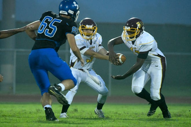 Washington's QB Riley Horner hands the ball off to Tytrelle Jones against Stephen Decatur on Thursday, Sept. 14, 2018. In Berlin, Md. a