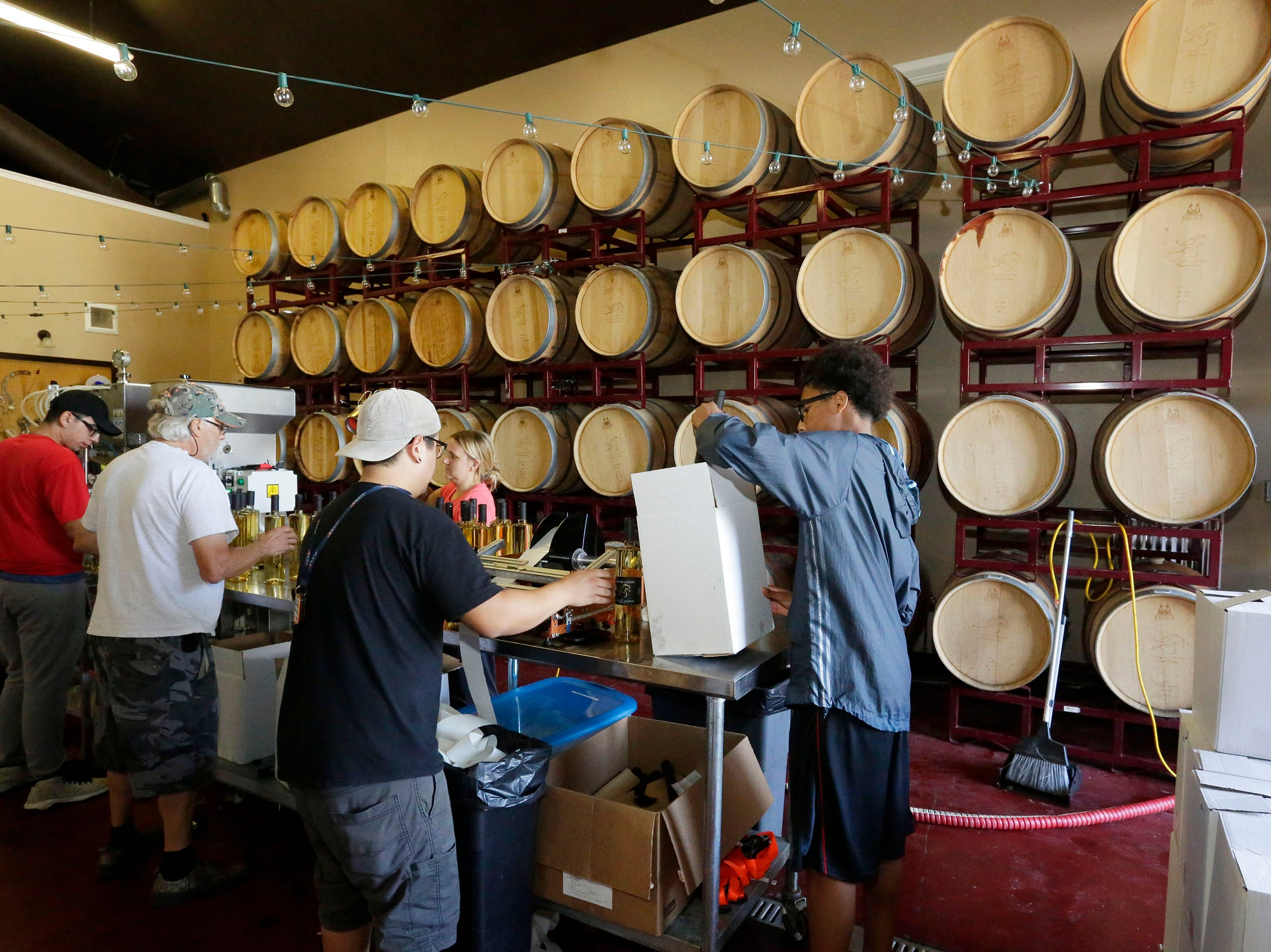 The wine bottling operation at The Blind Horse restaurant and winery, Thursday, September 13, 2018, in Kohler, Wis.