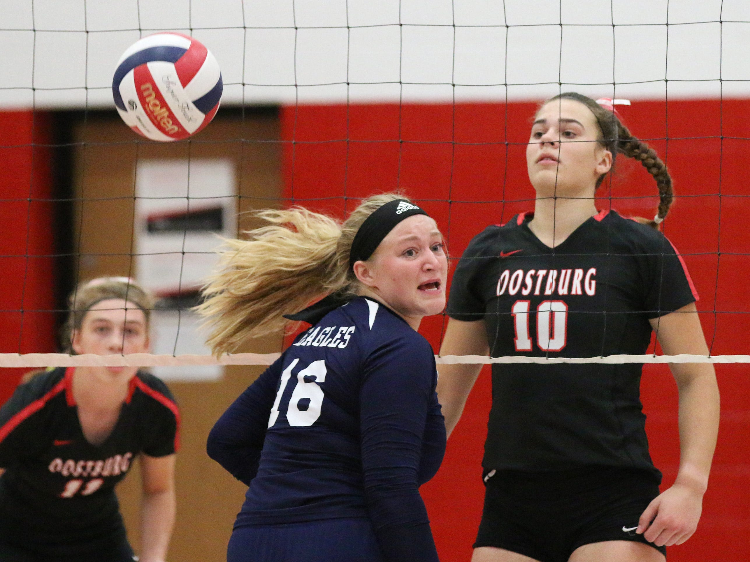 A Sheboygan Christian player reacts to a play against Oostburg, Thursday, September 13, 2018, in Oostburg, Wis.