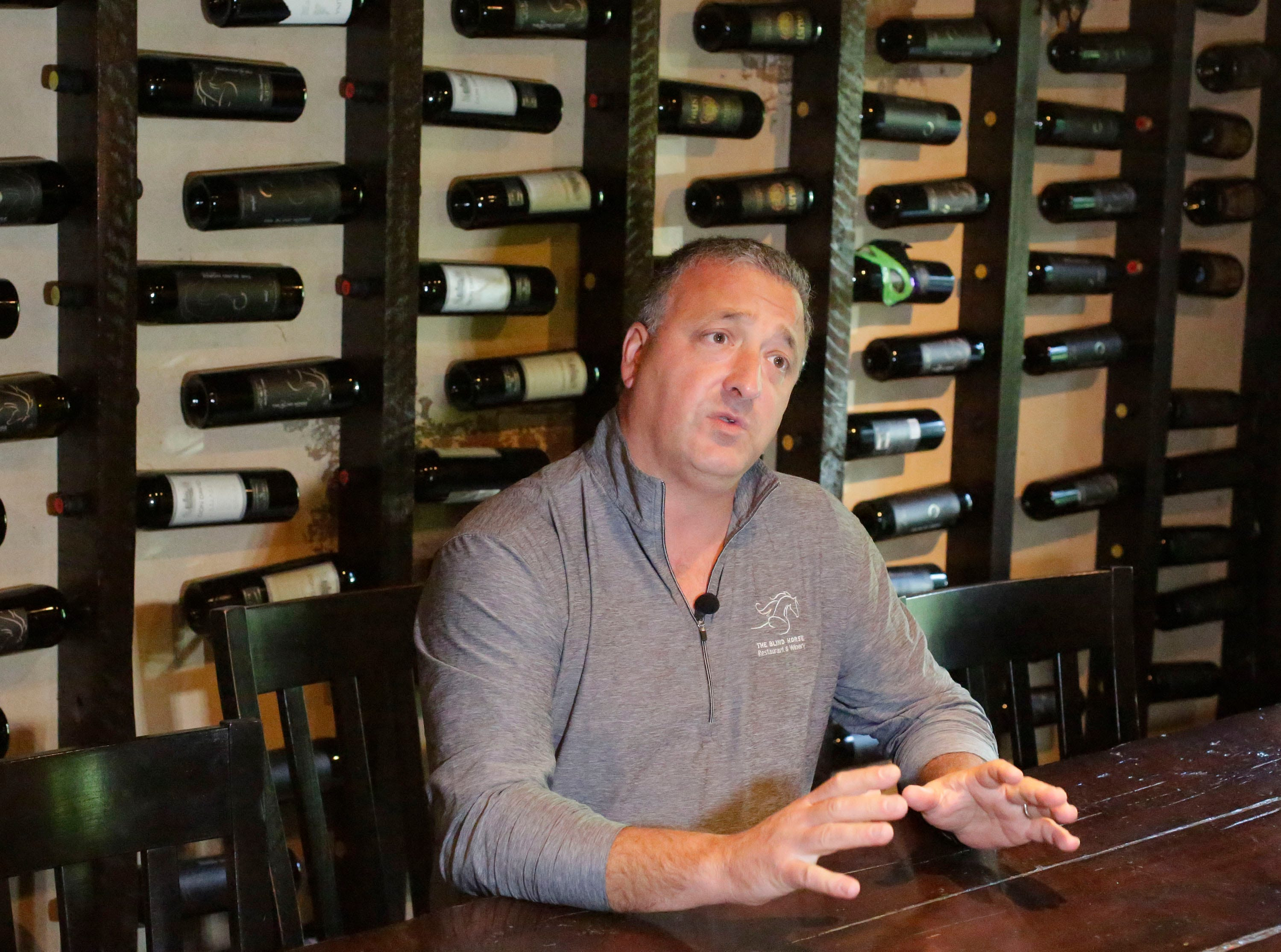 The Blind Horse restaurant and winery general manager Thomas Nye explains how he thought that the area should have a winery, Thursday, September 13, 2018, in Kohler, Wis.