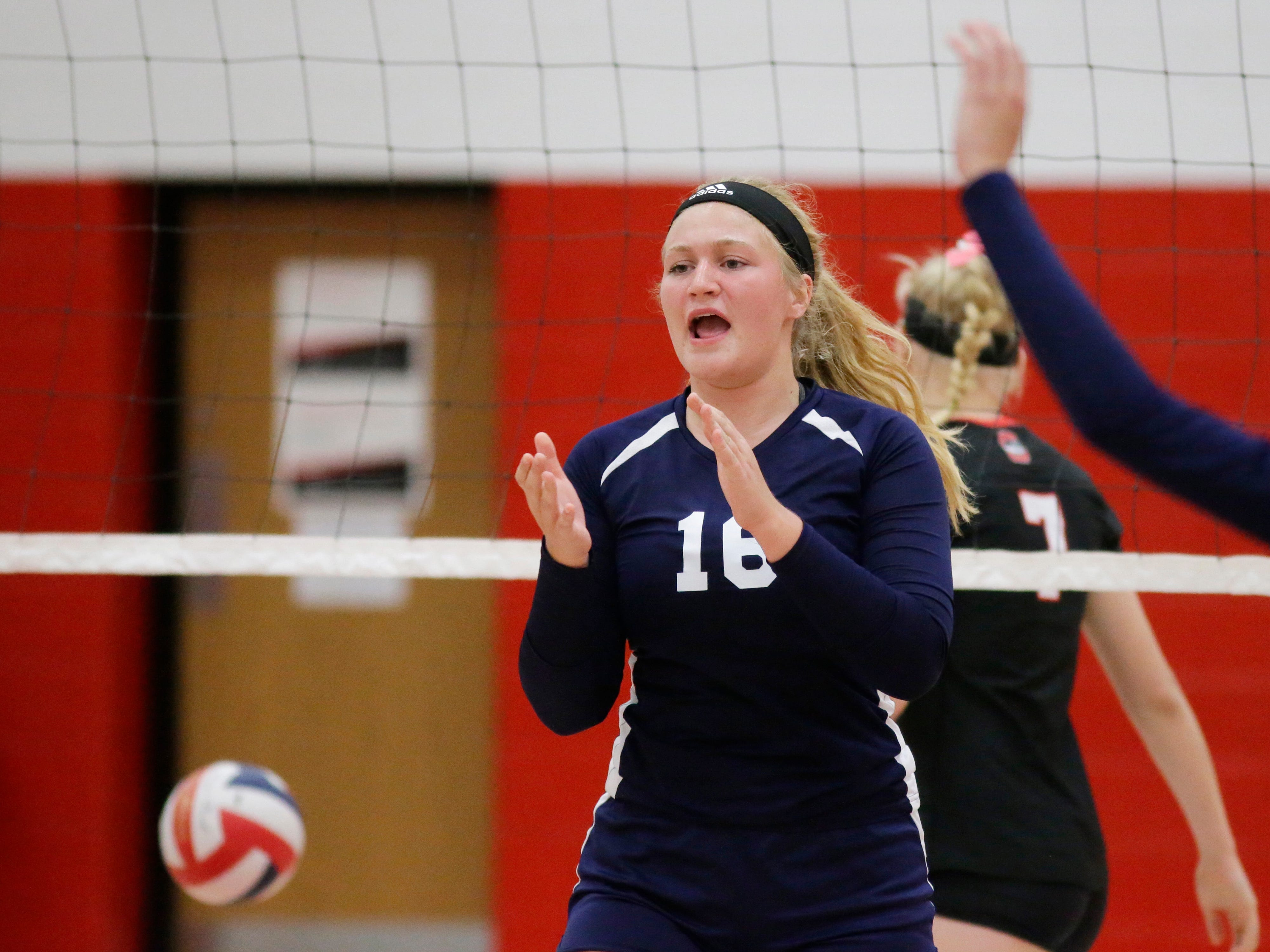 Sheboygan Christian's (10) reacts to a point against Oostburg, Thursday, September 13, 2018, in Oostburg, Wis.