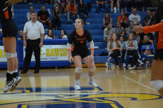 Hannah Fletcher (9) has committed to play volleyball next season at Dakota State University.