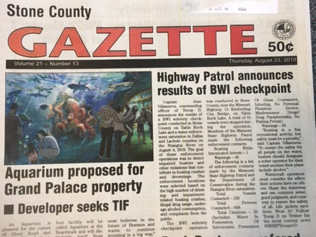 What's happened to the Stone County Gazette?  It's been missing without a word of explanation.