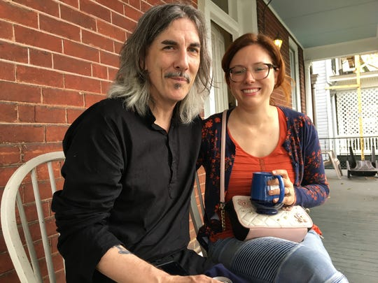 Christopher and Amanda Marino are staying in a home owned by American Shakespeare Center while Hurricane Florence storms through their town Carolina Beach, North Carolina. Marino is a guest director for ASC and reached out to the theater company for shelter.