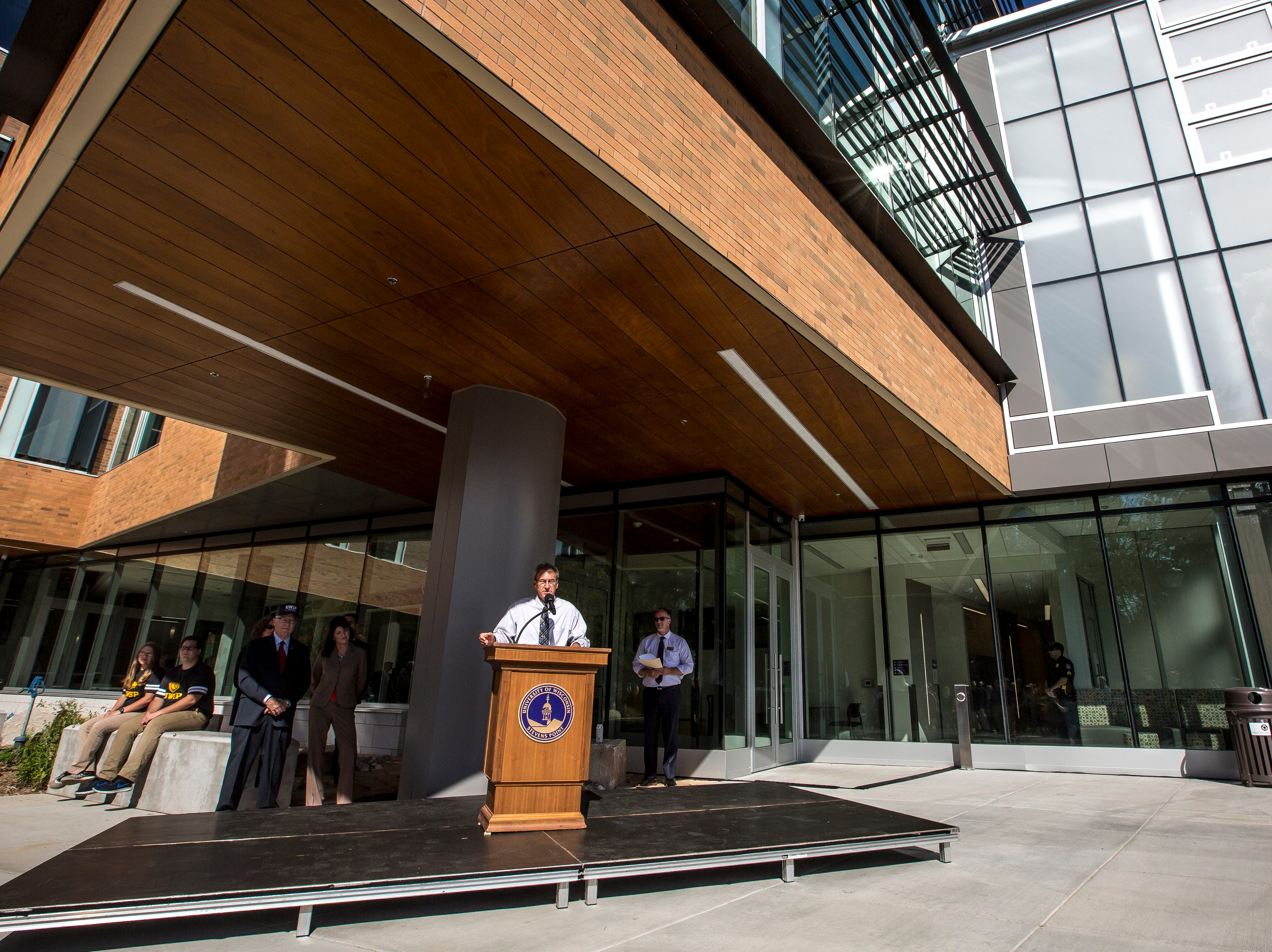 Tim Kippenhan of Miron Construction speaks during the opening ceremony for the Chemistry Biology Building at the University of Wisconsin-Stevens Point in Stevens Point, Wis., Sept. 14, 2018.