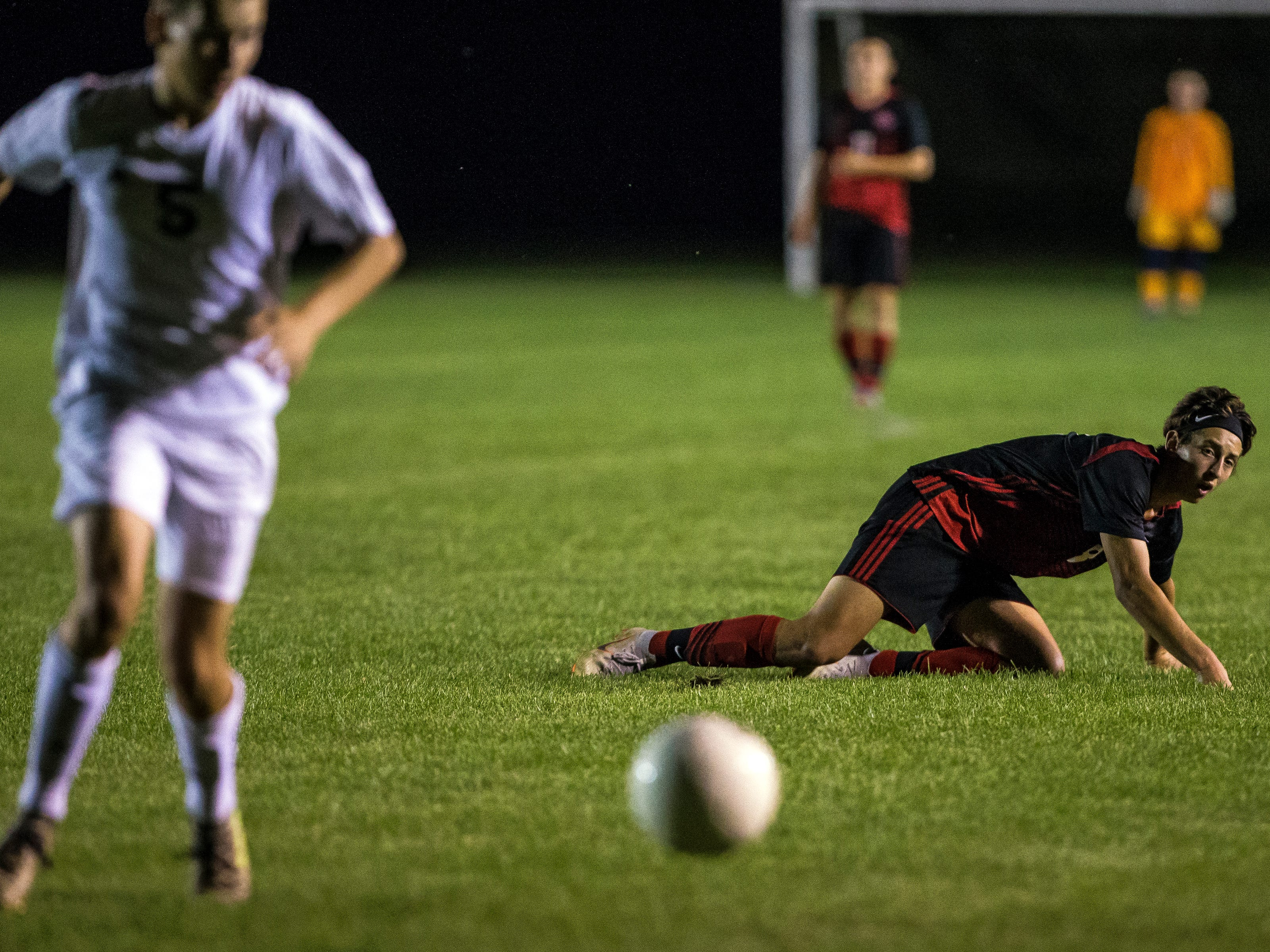 SPASH player Ethan Kane watches the ball after losing possession during a soccer game between SPASH and D.C. Everest in Stevens Point, Wis., September 13, 2018.