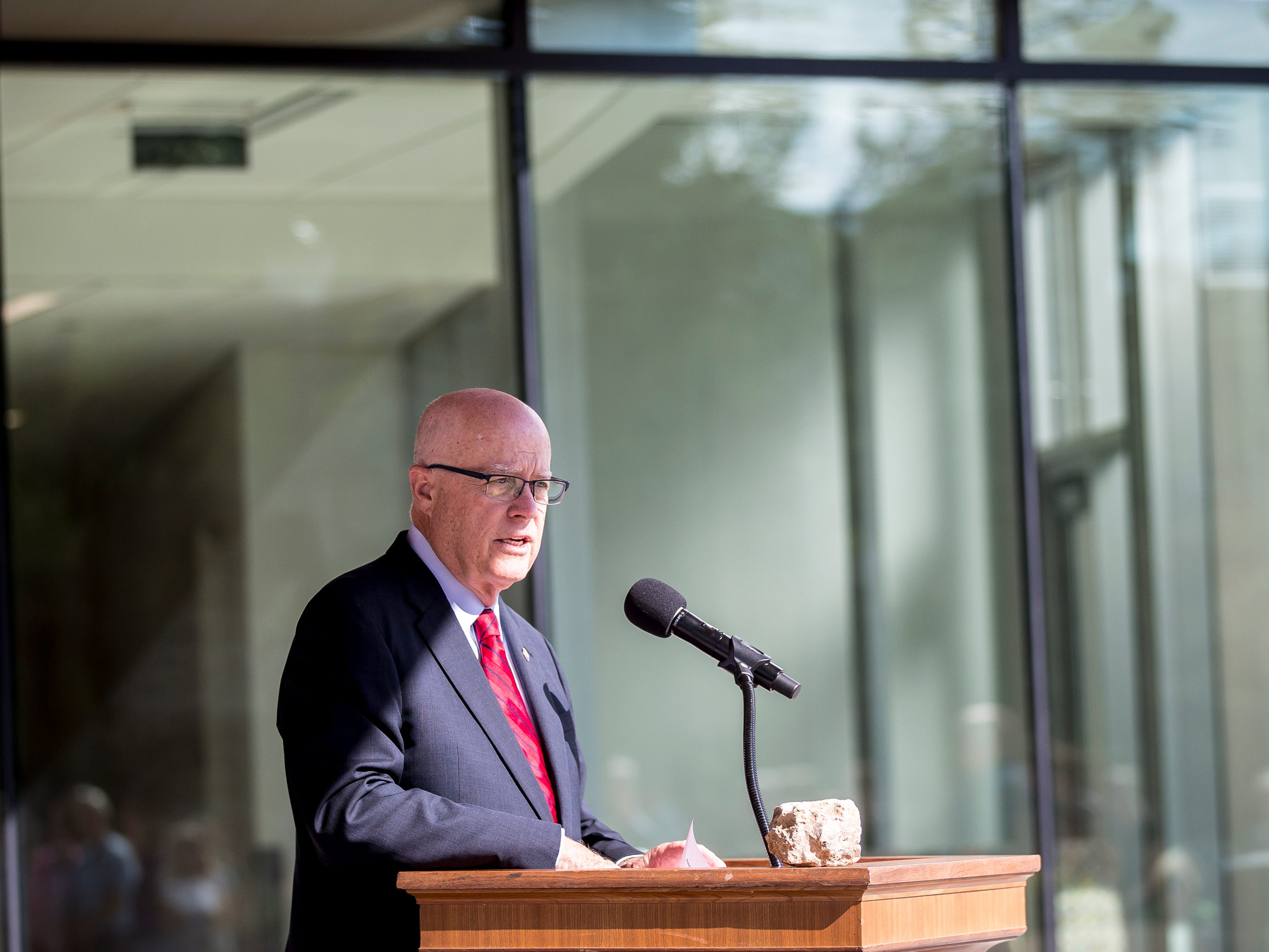 Chancellor Bernie Patterson speaks during the opening ceremony for the Chemistry Biology Building at the University of Wisconsin-Stevens Point in Stevens Point, Wis., Sept. 14, 2018.