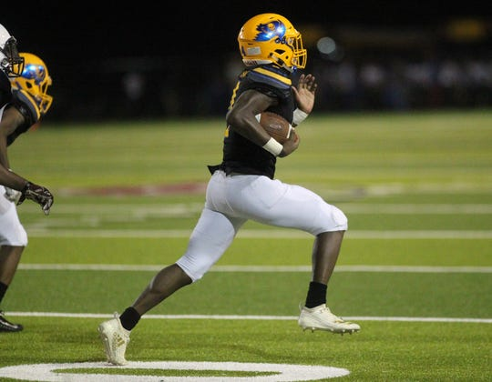 Rickards running back Kelvin Dean ran for 265 yards and six touchdowns as the Raiders beat Gadsden County 55-32 at Gene Cox Stadium on Thursday, Sept. 13, 2018.