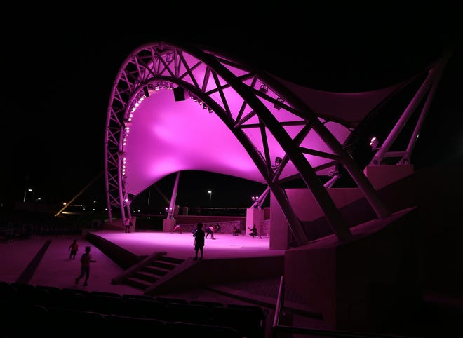 The canopy at the Capital City Amphitheater got the pink treatment as the city of Tallahassee shows its support in the fight against breast  cancer during a previous year.
