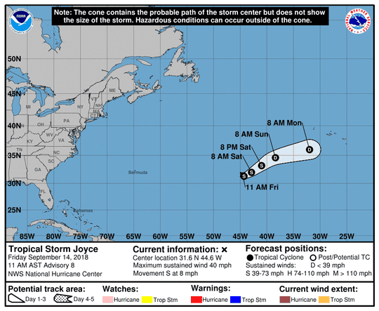 Tropical Storm Joyce 11 a.m. Sept. 14, 2018