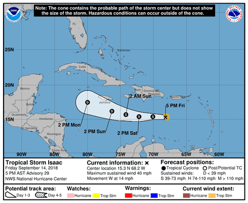 Tropical Depression Isaac path, forecast