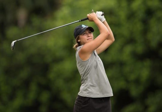 Jensen Beach's Sandy Edwards watches her tee shot on the 3rd hole during their high school girls golf match against Martin County at Willoughby Golf Club on Thursday, September 13, 2018 in Stuart. To see more photos, go to TCPalm.com.