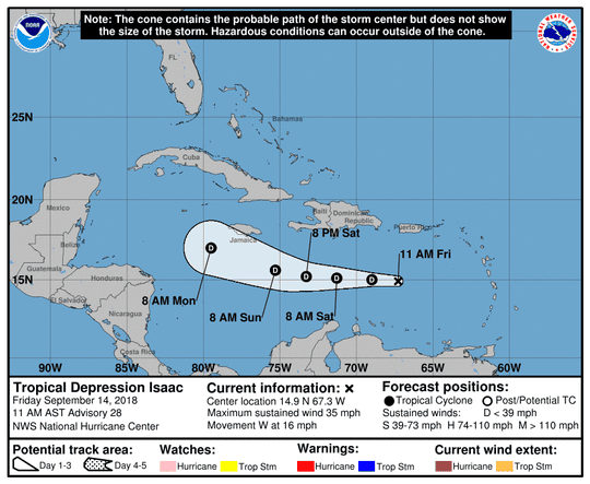 Troical Depression Isaac 11 a.m. Sept. 14, 2018