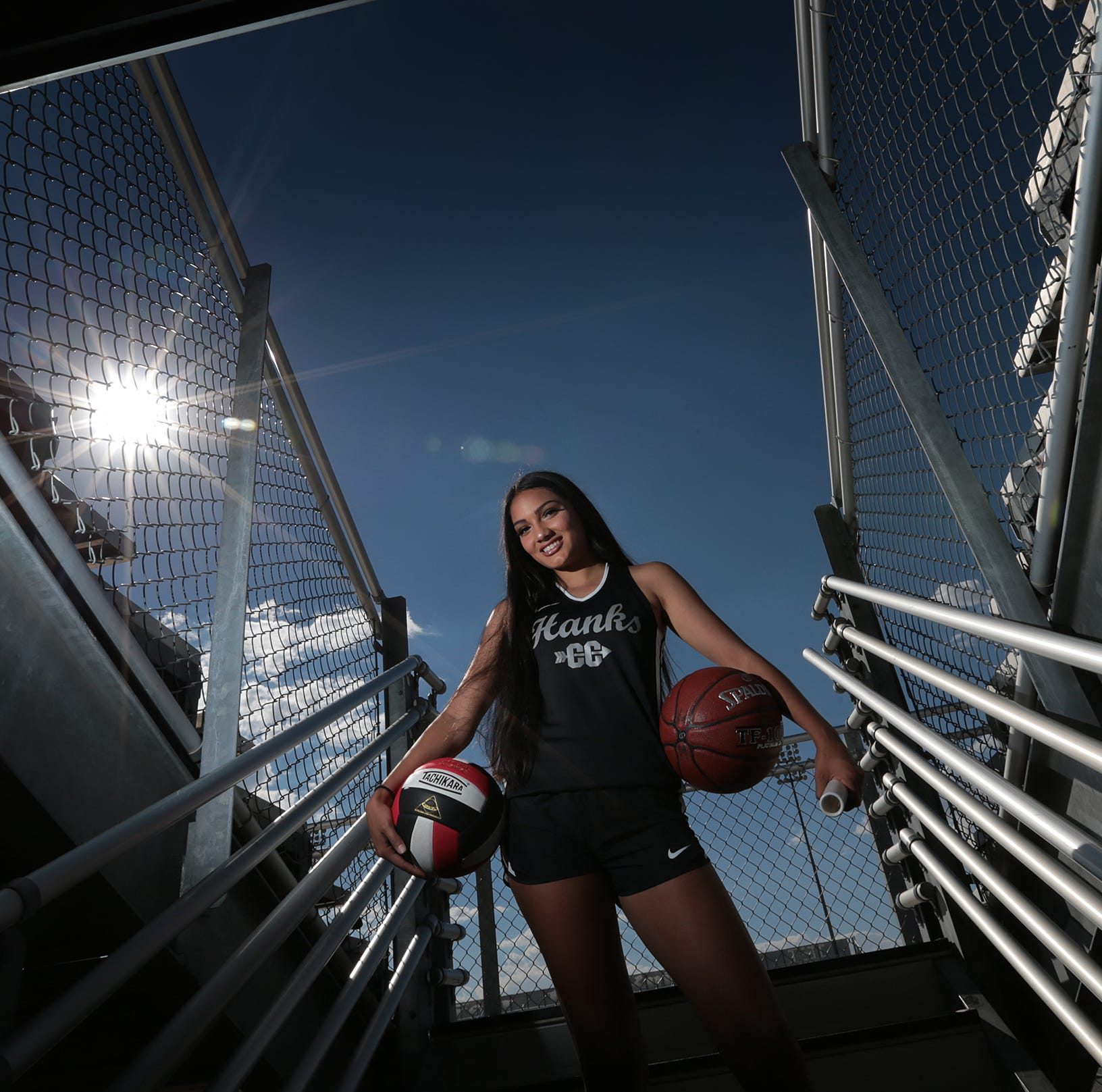 Hanks High School's Jacqueline Spencer is a four-sport star for the Knights. Spencer is in volleyball, basketball, track and cross country.