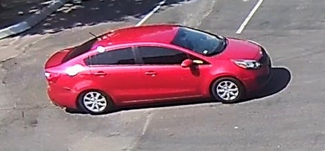 A red Kia Rio is the suspect vehicle in a string of vehicle battery thefts in Camarillo this week.