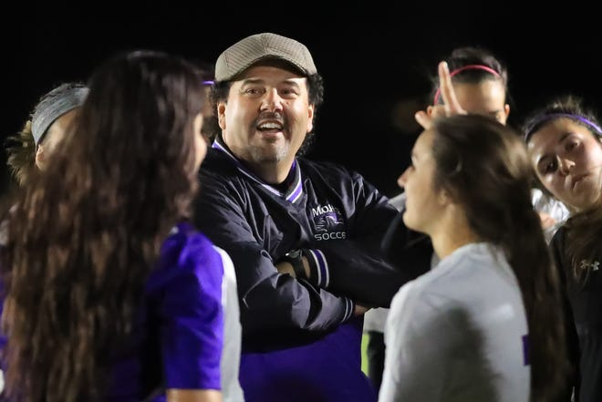 Mission Oak coach John Pimentel directed the Hawks to the Central Section Division III girls soccer championship in 2017.