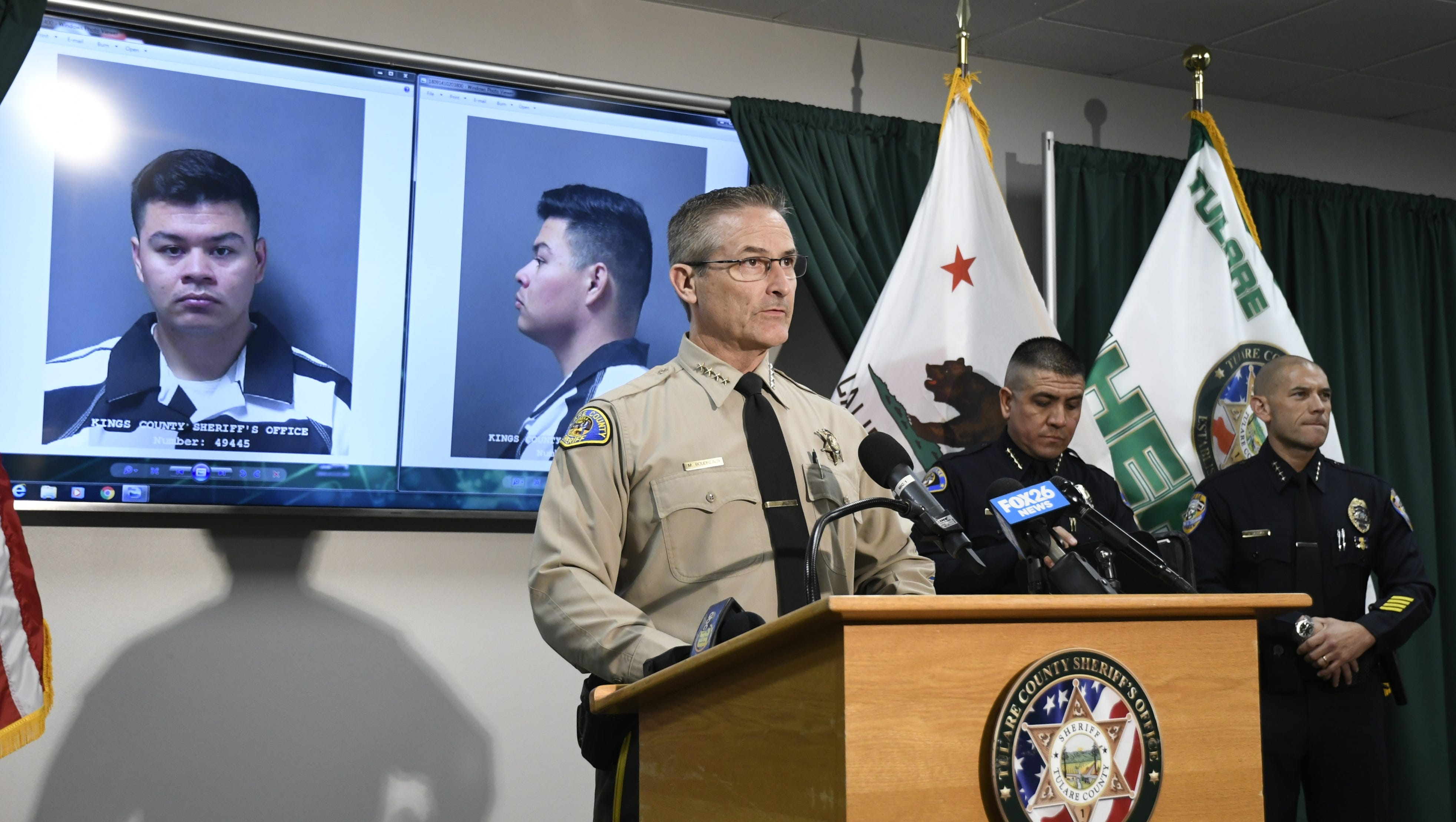 Sheriff Mike Boudreaux held a press conference on Friday regarding the arrest of a Woodlake officer.