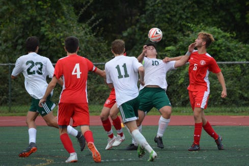 Rocky Bujaj (10) controls the ball in traffic during the second half of Yorktown's 2-0 loss at Tappan Zee on Sept. 13, 2018.