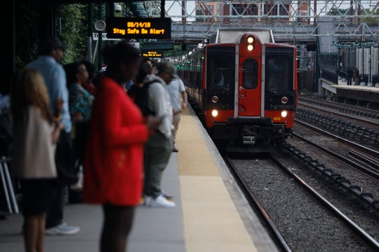 Passengers at the Mount Vernon East train station on Sept. 14.