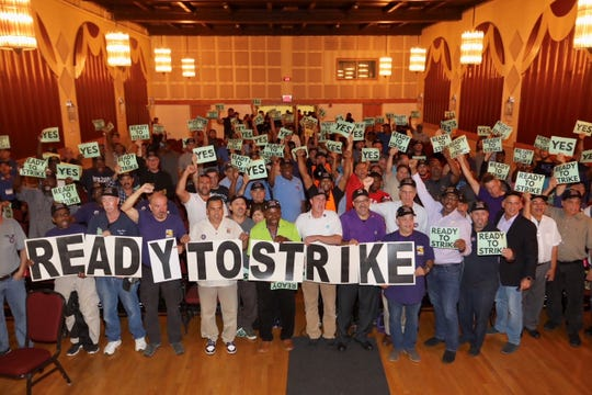 Local 32BJ of the Service Employees International Union vote to strike on Sept. 30 during a meeting at the Westchester County Center on Thursday, Sept. 13, 2019.
