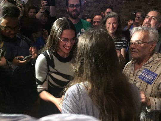 Alexandria Ocasio-Cortez, the congressional candidate, congratulates Alessandra Biaggi after her win over state Sen. Jeff Klein in the Sept. 13, 2018 Democratic Party primary.
