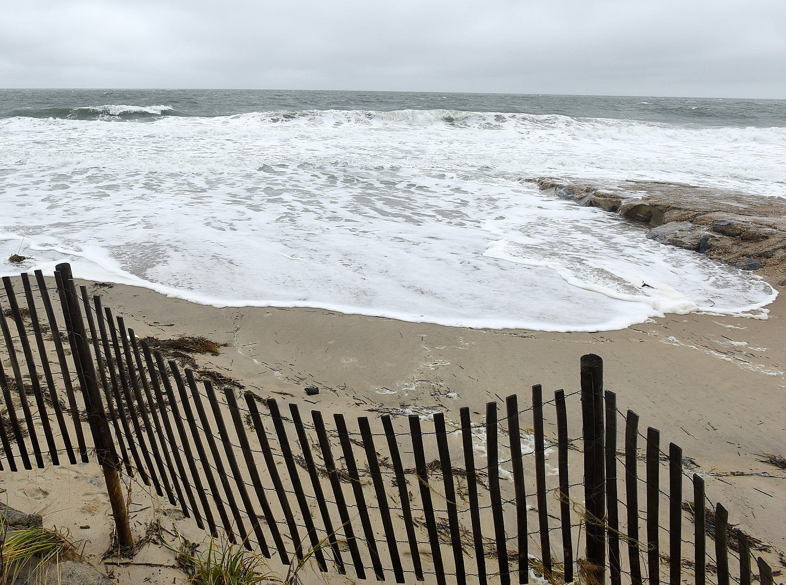 High Tide at Rehoboth Beach had water up on the beach with Red Flag Warnings from the Beach Patrol as effects from Hurricane Florence affected the Delaware Coast Line.Special to the News Journal / CHUCK SNYDER