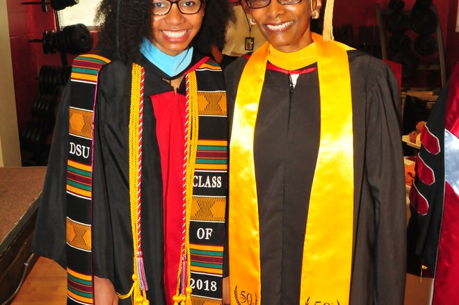 Louise Mall (right) and her granddaughter, Jordan Saez (left) both graduated from Delaware State University.