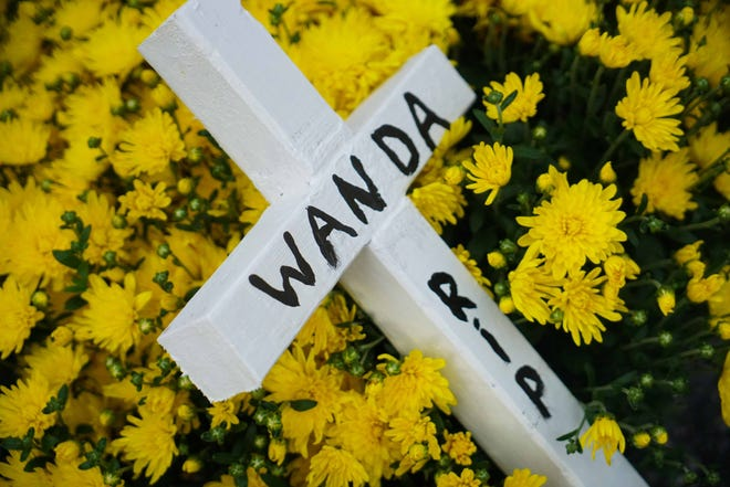 A cross marks where Dr. Sandra Gibney found Wanda Foster in July and saved her from an earlier overdose.