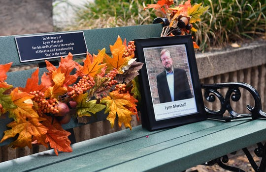 A park bench situated near the Wichita Theater was installed and dedicated in memory of the late Lynn Marshall, a longtime north Texas radio and television personality and community theater director.