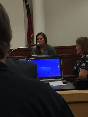 Jamie Lopez, a 33-year-old registered nurse testifies Thursday about what she saw as she attempted to treat Lauren Landavazo at the scene of a shooting on Sept. 2, 2016. Lauren Landavazo died from her injuries.
