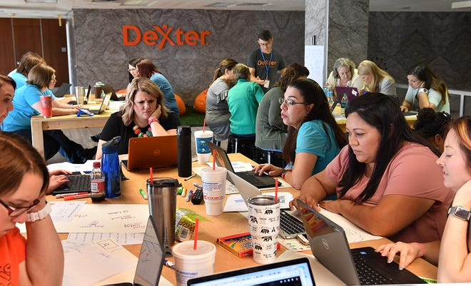 In this file photo, Wichita Falls ISD teachers learn about basic computer programming and algorithms at Dexter Learning during a STEAM 3.0 training session. Dexter is one of two growing makerspaces in downtown Wichita Falls. The Chamber is seeking input through an online survey about what equipment or classes residents would like to see at these makerspaces like this in the city.