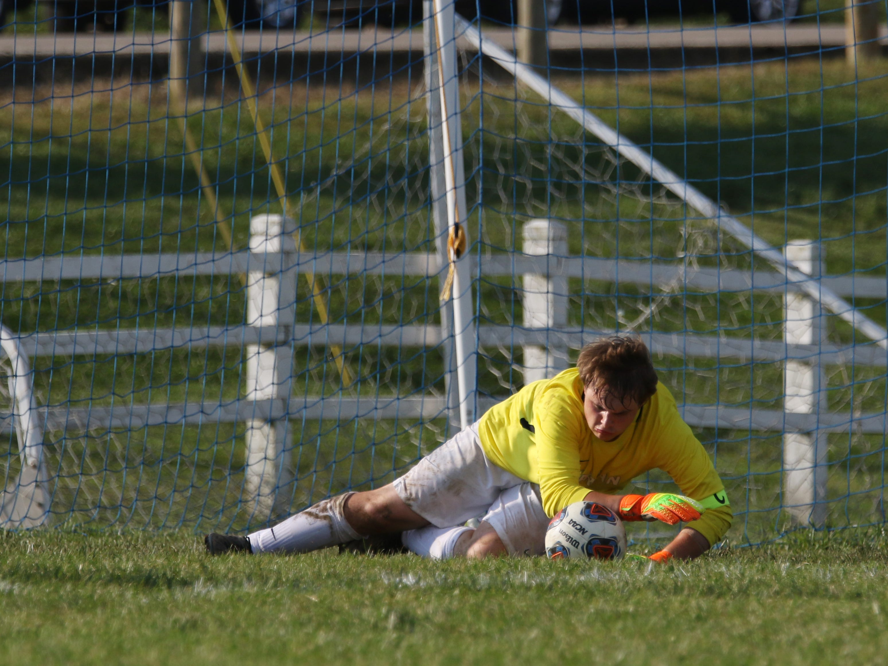 Sheridan's keeper makes a save against West Muskingum.