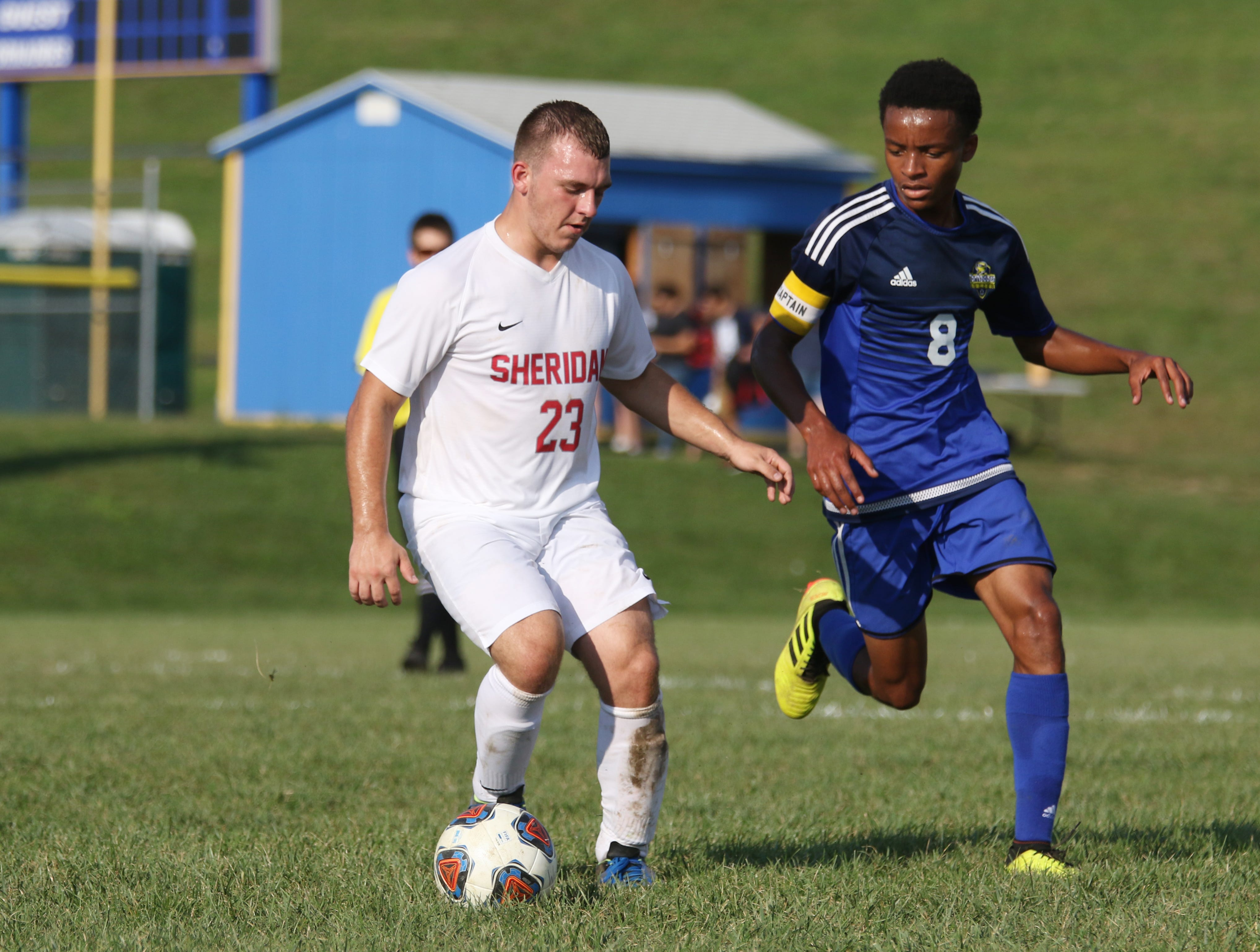Sheridan's JJ Hackworth moves with the ball against West Muskingum.