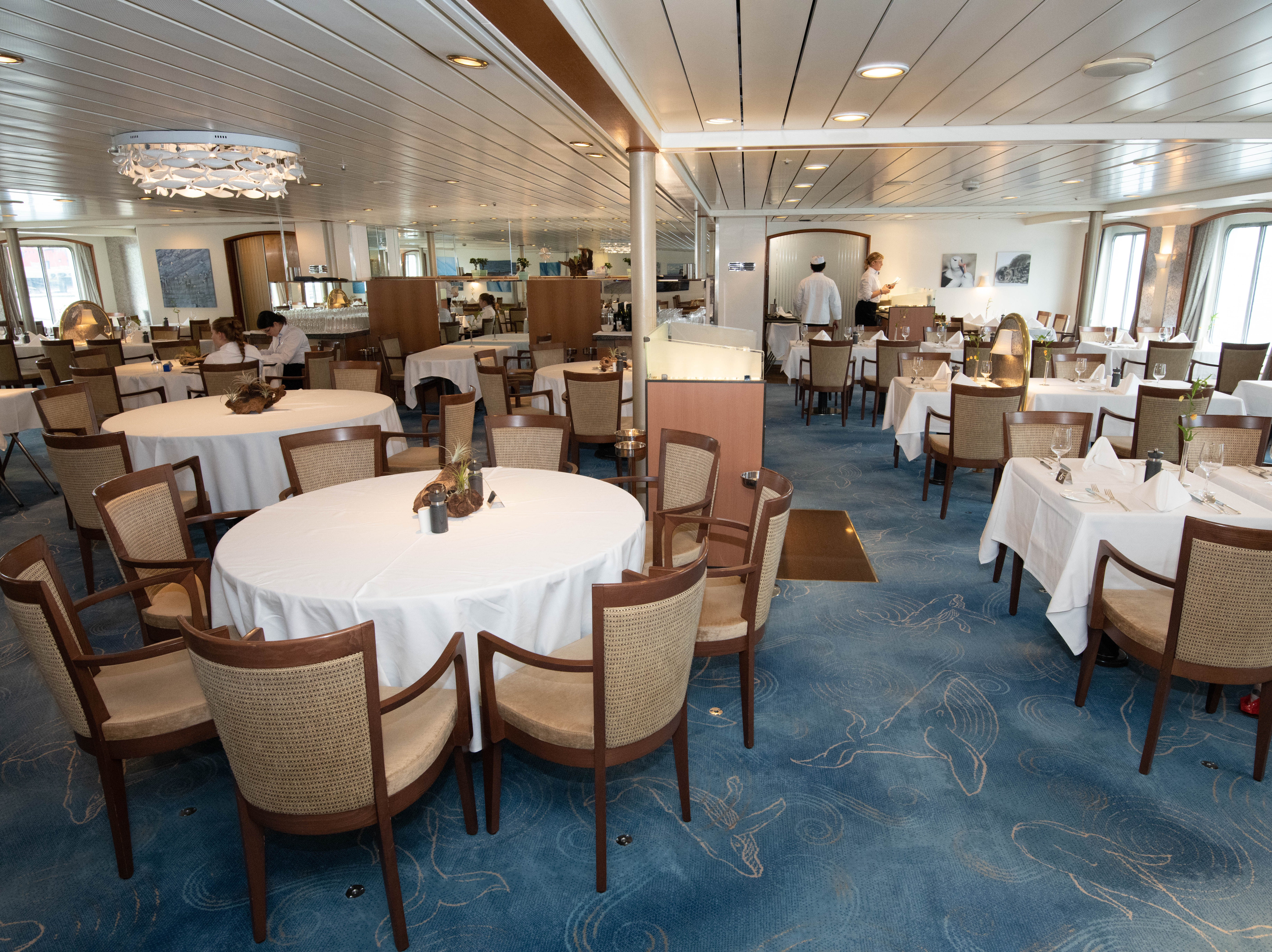 One deck down from the Bremen Club lounge at the back of the ship is the ship's main restaurant. It can hold all of the passengers on the vessel at once and is open for breakfast, lunch and dinner.