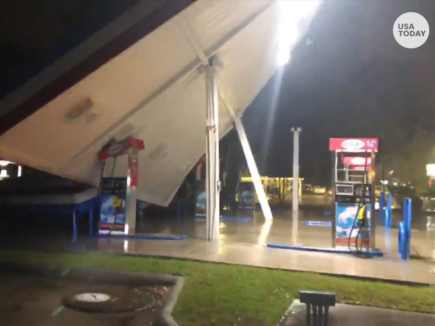 Gas station canopy toppled by howling Hurricane Florence winds