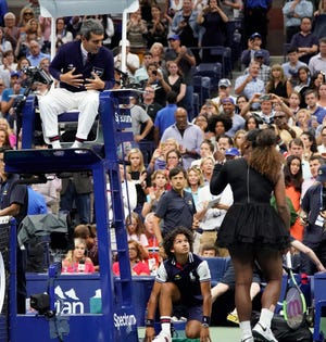 Serena Williams argues with chair umpire Carlos Ramos after losing to Naomi Osaka in the US Open women's final.