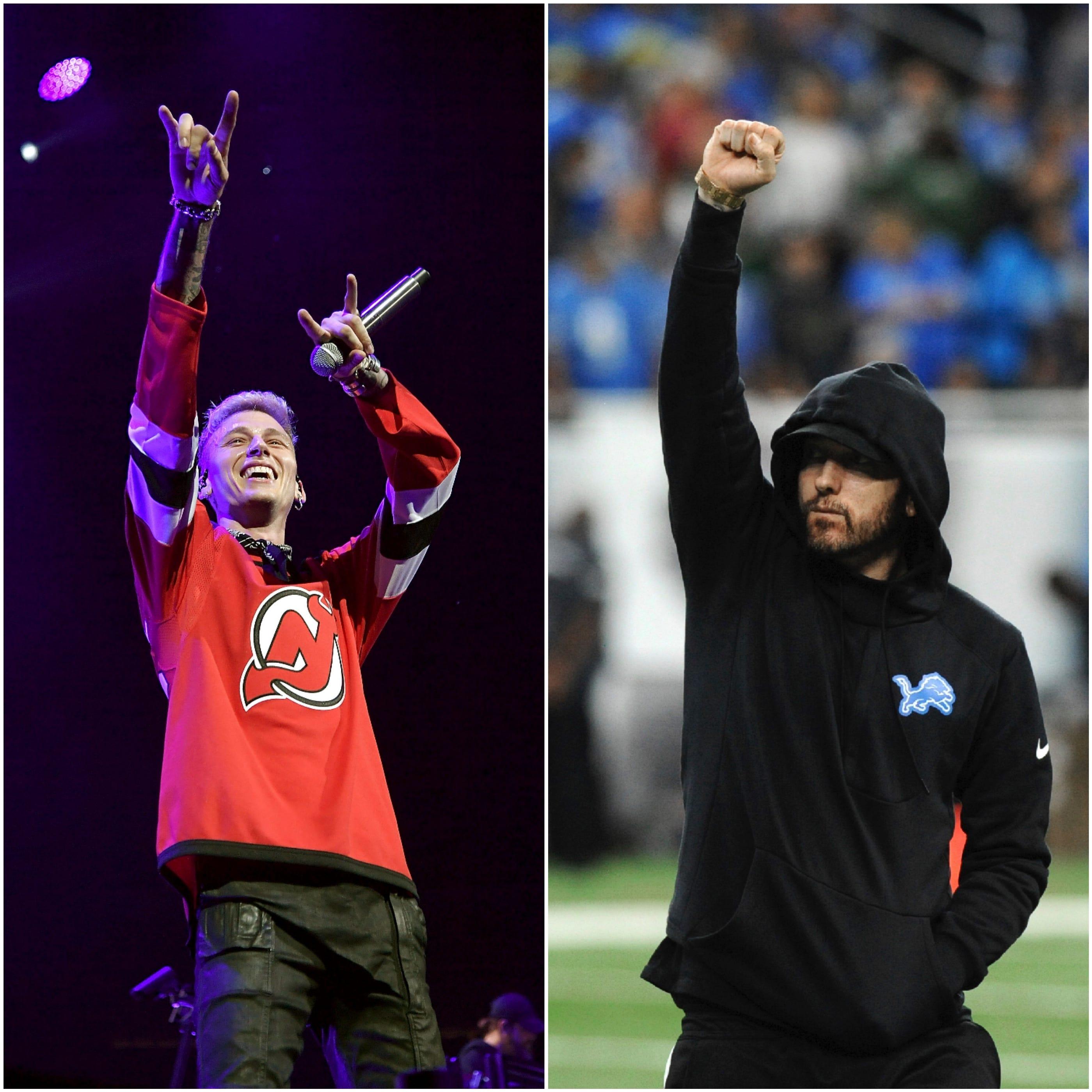 Machine Gun Kelly (literally) trashes Eminem's diss track 'Killshot,' announces new EP
