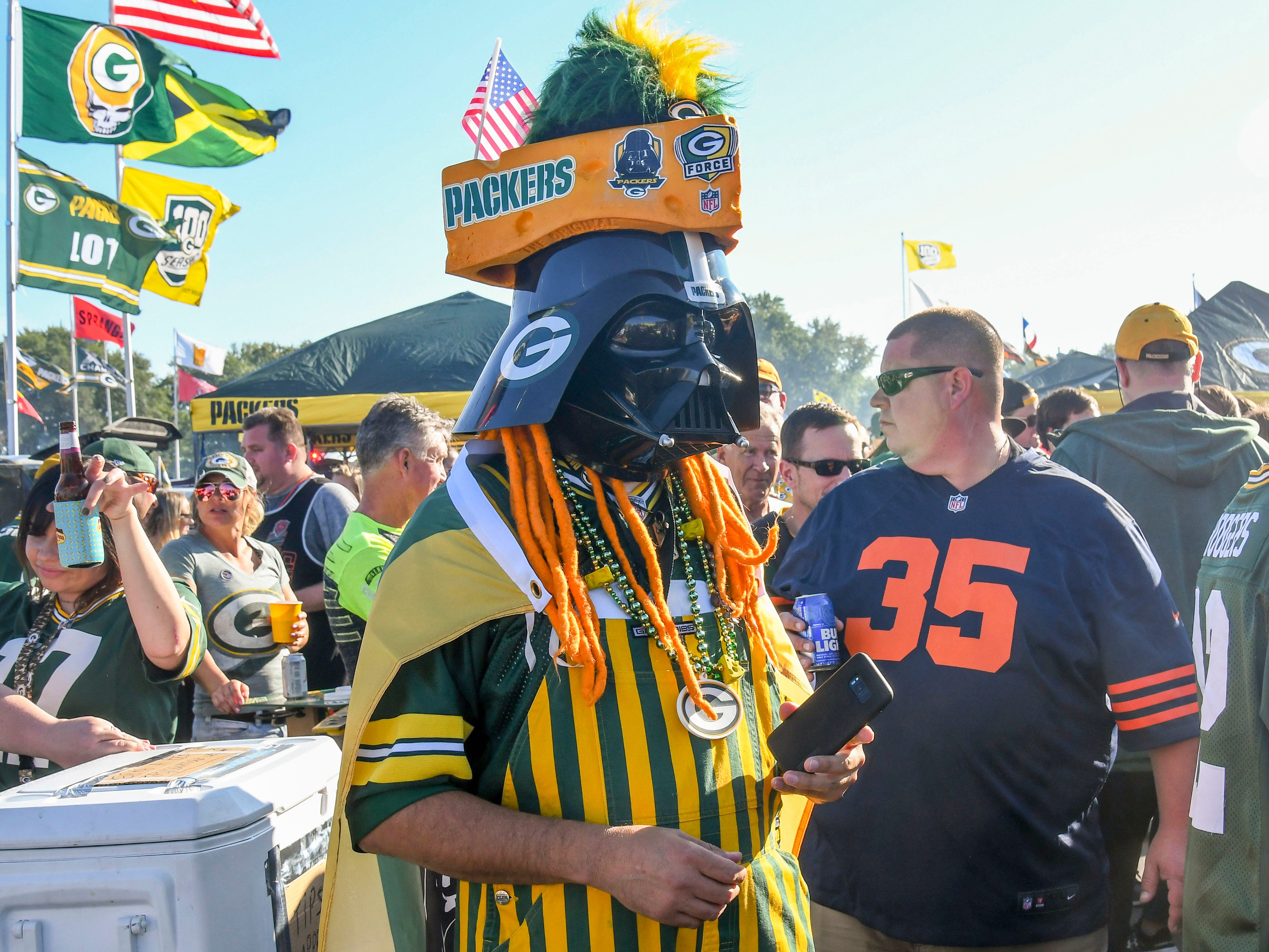 Sep 9, 2018; Green Bay, WI, USA; Fans tailgate before a game between the Green Bay Packers and Chicago Bears at Lambeau Field. Mandatory Credit: Benny Sieu-USA TODAY Sports