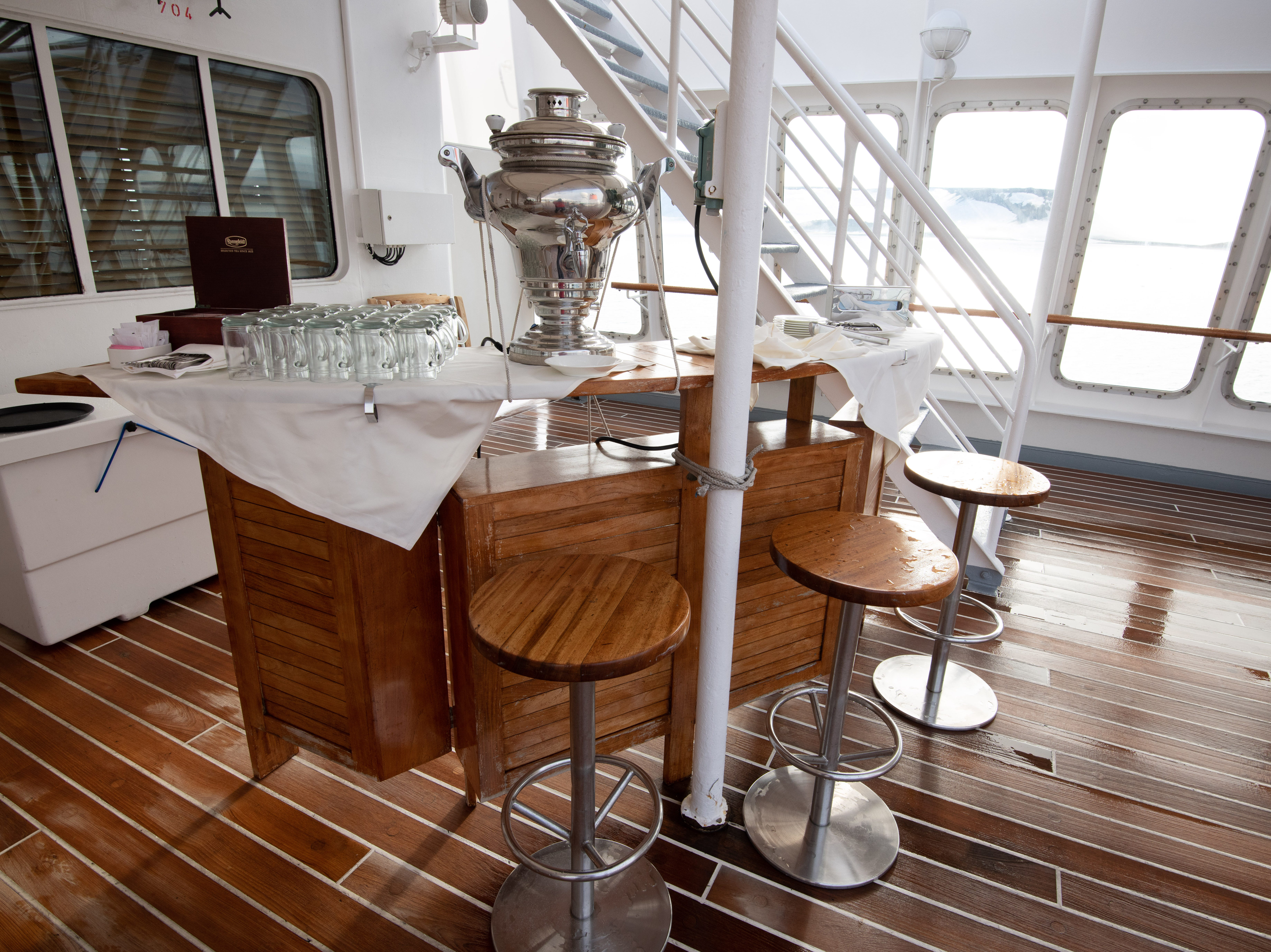 The Sun Deck has a small bar that is normally set up with hot tea throughout the day.