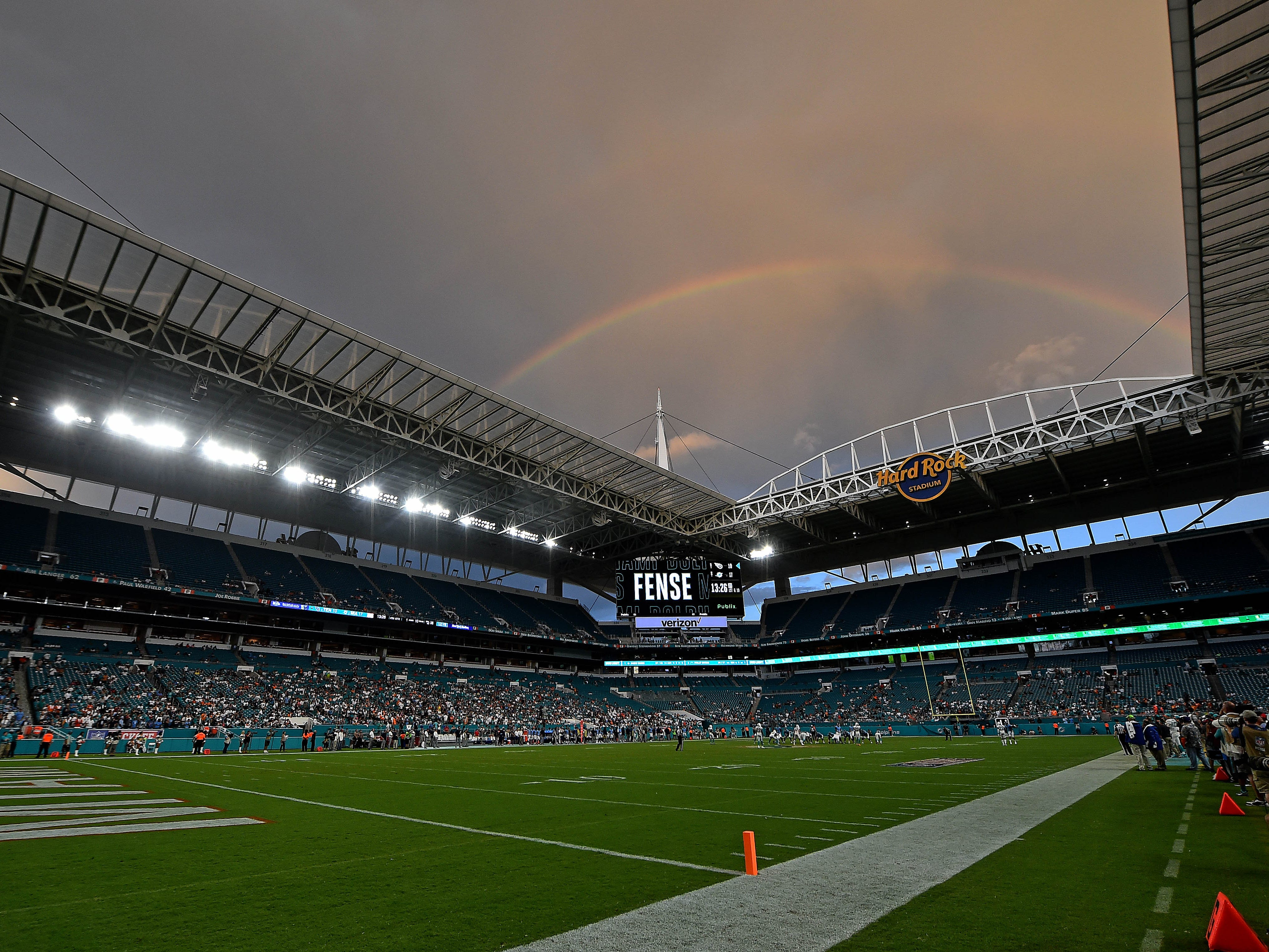 Week 1: A rainbow appears during the second half of the game between the Miami Dolphins and the Tennessee Titans at Hard Rock Stadium.